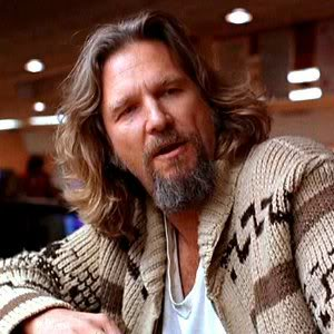 Jeff Bridges as The Dude in The Big Lebowski with his mouth hanging open as always