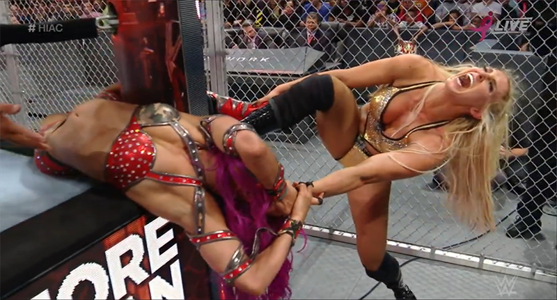 Sasha and Charlotte Hell in a Cell match October 2016