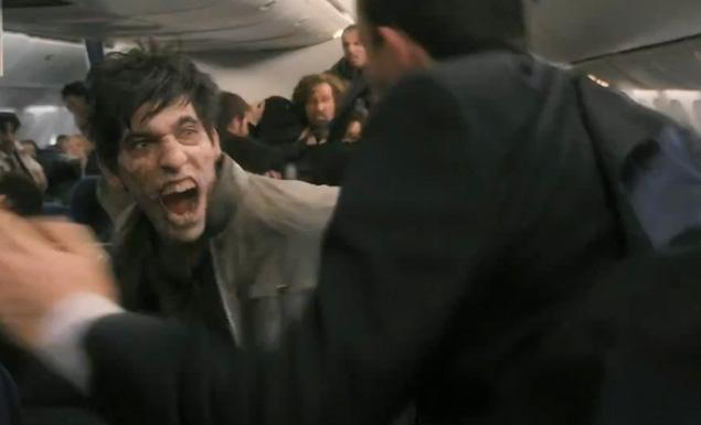 World War Z movie zombies attack the airplane passengers