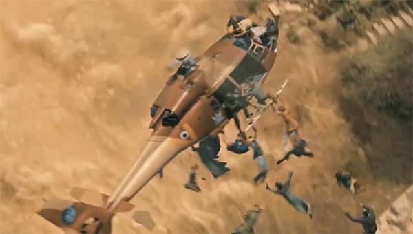 zombies attack a helicopter over Israel in World War Z