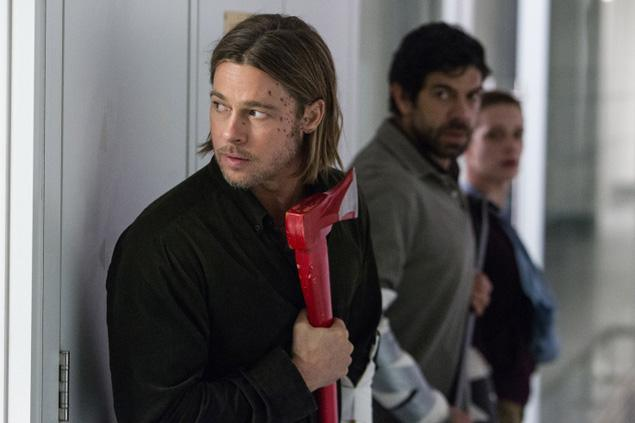 World War Z movie Scotland research station Brad Pitt holding axe in B wing