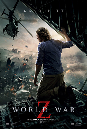 World War Z movie poster with Brad Pitt and helicopter
