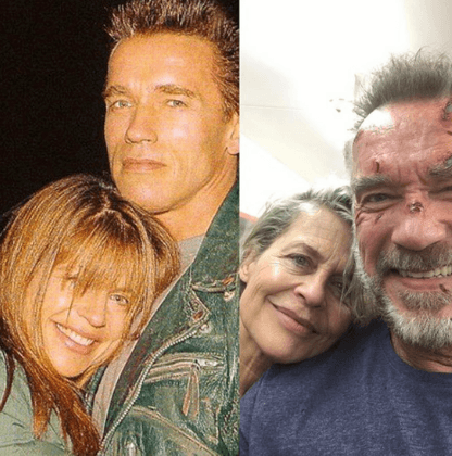 Arnold Schwarzenegger and Linda Hamilton then and now