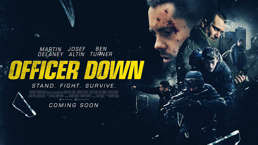 Officer Down action short film horizontal movie poster