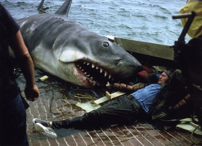 Robert Shaw relaxing on the set of Jaws