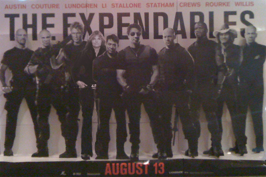 photo of The Expendables lobby card display with the action movie freak Photoshopped into the cast :D