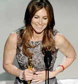 Kathryn Bigelow getting some satisfaction accepting Academy Award for Best Director and Best Picture over ex-husband James Cameron-you go girl!