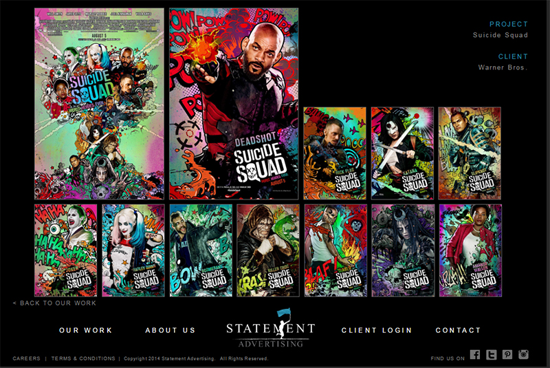 Suicide Squad posters by Statement Advertising