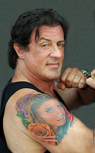 Sylvester Stallone with real-life tattoo of his wife