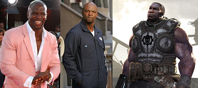 Terry Crews collage pink jacket_Everybody Hates Chris Dad in coveralls_and character from Gears