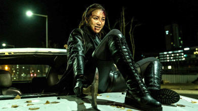 Axe-in-the-hood hood riding scene from The Villainess