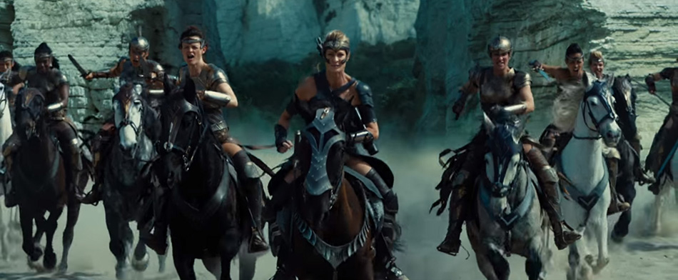 Amazons charging into battle on horseback in Wonder Woman (2017)