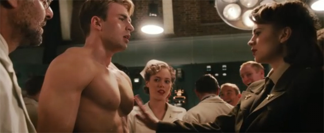 touching Captain America's chest