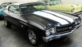 black Chevelle SS with double white racing stripes from the movie Faster starring The Rock