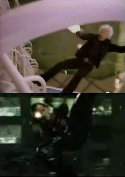 backwards fall while shooting stunt by Dar Robinson in Stick and Trinity in The Matrix