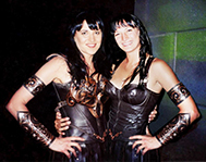 Lucy Lawless and stunt double Zoe Bell as Xena Warrior Princess