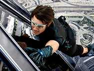 Tom Cruise outside the Burj Khalifa in Dubai