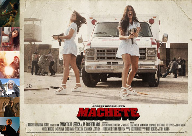 composite photo of Robert Rodriguez's Machete nurses movie poster