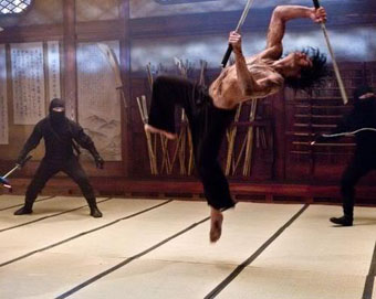 Ninja Assassin Rain does a flip
