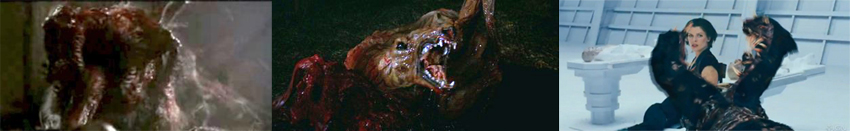 the dog splitting open in John Carpenter's The Thing compared to the dog splitting open in Resident Evil Afterlife REAL: 3D