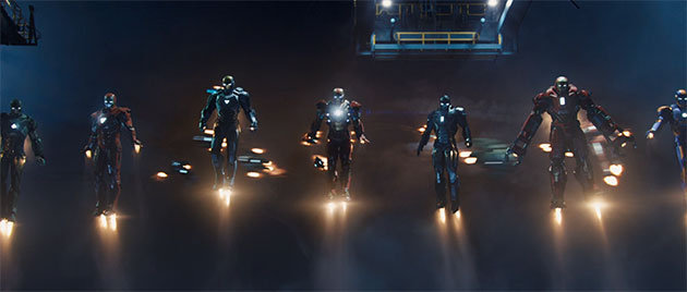 Iron Man 3 many suits flying