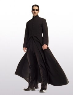 Keanu Reeves in The Matrix Nehru-collar black coat