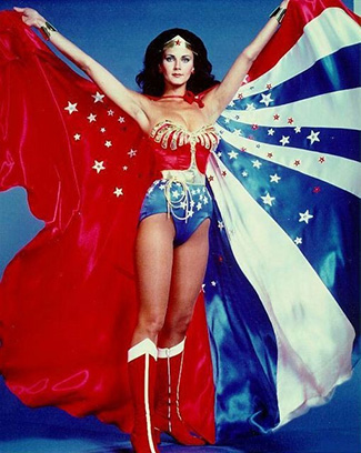 Wonder Woman TV show with Lynda Carter and red white and blue cape