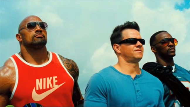 Pain & Gain the Rock Mark Wahlberg and Anthony Mackie