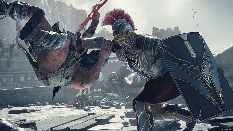 Ryse:Son of Rome game with gladiator killing an enemy