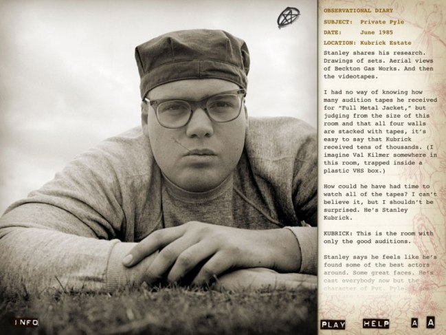 a page from Matthew Modine's Full Metal Jacket Diary book and app showing a photo of Vincent D'Onofrio