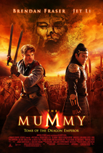 The Mummy Tomb of The Emperor movie poster showing Brendan Fraser and Jet Li with the villain and the army in the background