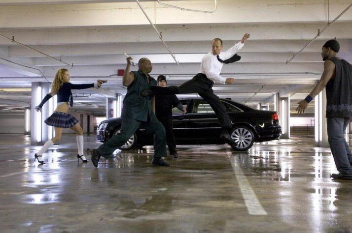 Jason Statham fight scene in garage The Transporter