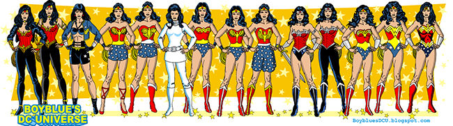 pictograph of all the Wonder Women original costume variations