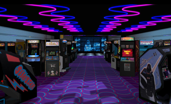 interior of 1980s era video game arcade