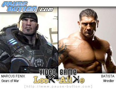 drawing of Marcus Fenix from Gears of War next to photo of wrestler Dave Batista
