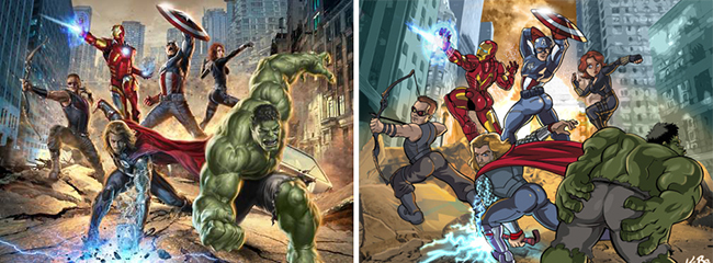 Sexualized pose from The Avengers and its send up mocking it